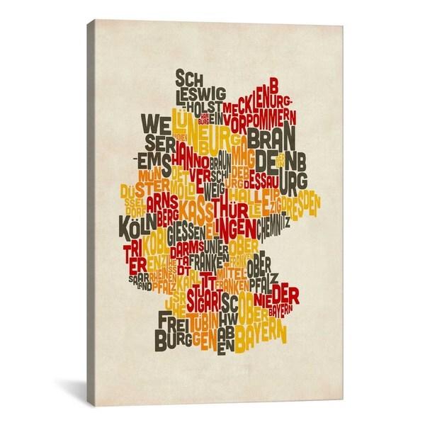 iCanvas Michael Thompsett Text Map Of Germany IV Canvas Print Wall Art