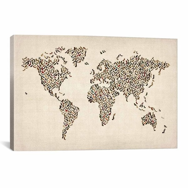 iCanvas Michael Thompsett Women's Shoes (Boots) World Map Canvas Print Wall Art