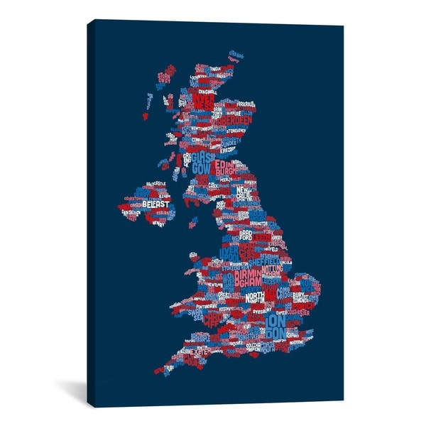 iCanvas Michael Thompsett Great Britain UK City Text Map (Blue) Canvas Print Wall Art
