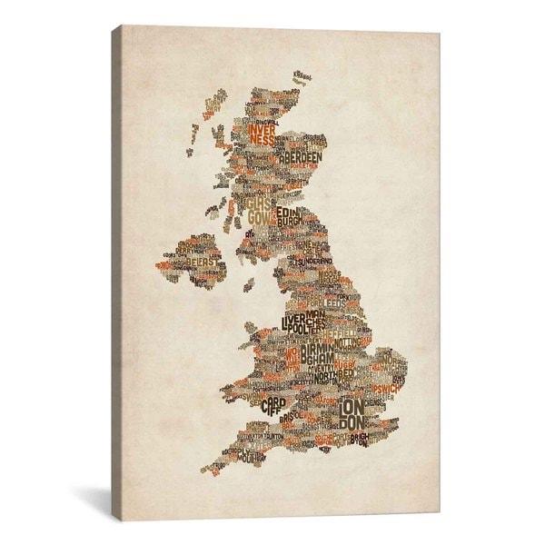 iCanvas Michael Thompsett Great Britain UK City Text Map II Canvas Print Wall Art