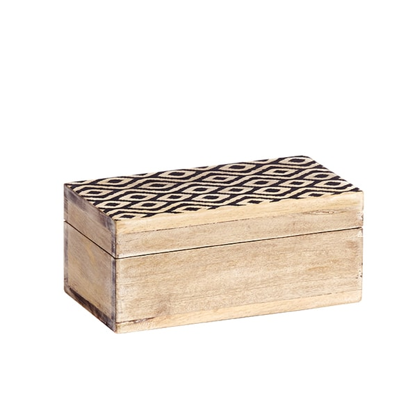 Mela Artisans Medium Ikat Mango Wood Box (India)