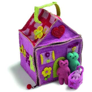 Children's Purple Felted Wool Doll House with Three Bears (Denmark)