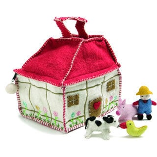Children's Felted Wool Farmhouse Bag with Farmer and Animals (Denmark)