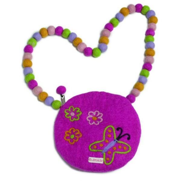 Children's Felt Wool Purple Butterfly Purse (Denmark)