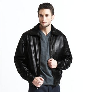 Men's Genuine Leather Bomber Jacket with Zip-out Liner