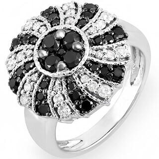 14k White Gold 1 1/4ct TDW Black and White Diamond Cocktail Ring (H-I, I1-I2)