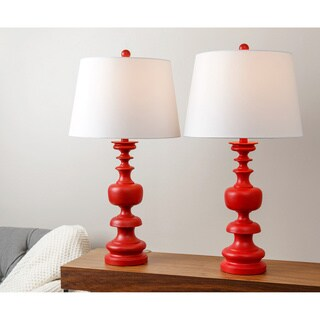 ABBYSON LIVING Alexis Red Spiral Table Lamp (Set of 2)