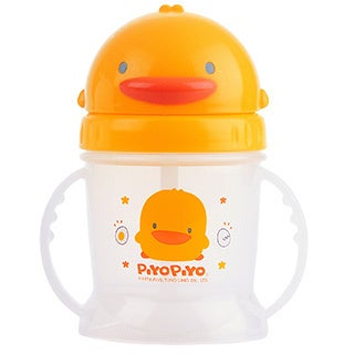 Kid's White Yellow Duckling Training Cup with Sliding Lid and Straw