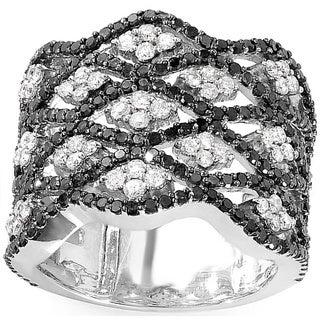 14k White Gold 2 1/4ct TDW Black and White Diamond Cocktail Ring (H-I, I1-I2)