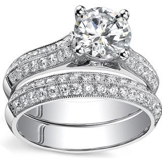 18k White Gold 1 7/8ct TDW Certified Round Diamond Bridal Ring Set (H-I, SI3)