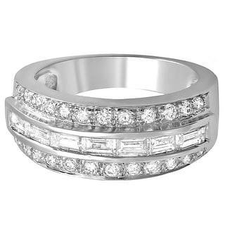 14k White Gold 1ct TDW Round and Baguette Diamond Anniversary Ring (H-I, I1-I2)