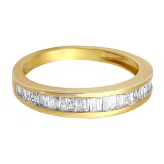 14k Yellow Goldplated Sterling Silver 1/2ct TDW Baguette-cut Diamond Wedding Band (I-J, I2-I3)