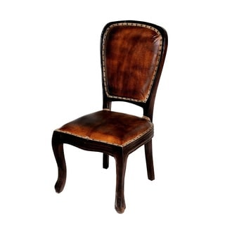 True Leather Napa Leather Back and Seat Wooden Chair