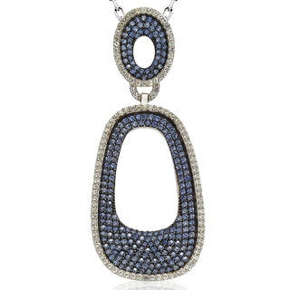 Suzy Levian Sterling Silver 6 1/10ct TGW Sapphire Pave Pendant with Chain