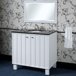 Black Granite Top 36-inch Single Sink Bathroom Vanity in White Finish with Matching Framed Wall Mirror