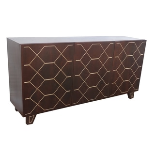 Christopher Knight Home Kota Espresso and Gold Inlay Three Door Sideboard