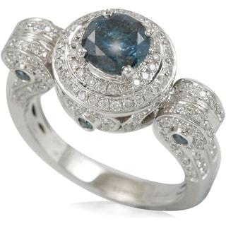 Suzy Levian 14k White Gold 2 3/5ct TDW Blue and White Diamond Roman Pillar Ring (G-H, VS1-VS2)