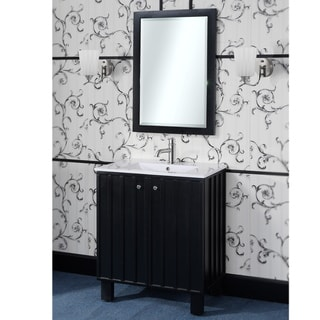30-inch Single Sink Bathroom Vanity in Black Finish with Matching Framed Wall Mirror