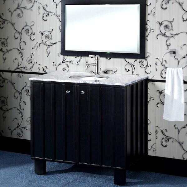 Carrara White Marble Top 36 Inch Single Sink Bathroom Vanity In Black Finish