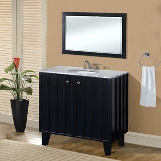 Carrara White Marble Top 36-inch Single Sink Bathroom Vanity in Black Finish with Matching Framed Wall Mirror