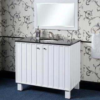 Black Granite Top 40-Inch Single Sink Bathroom Vanity in White Finish with Matching Framed Wall Mirror
