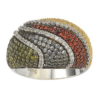 Suzy Levian Exotic Cubic Zirconia Gemstone Sterling Silver Ring