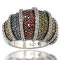 Suzy Levian Sterling Silver Multi-color Cubic Zirconia Pave Ring