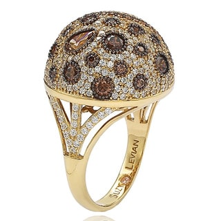 Suzy Levian Golden Sterling Silver Brown Cubic Zirconia Ring