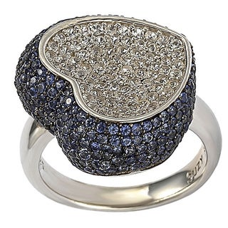 Suzy Levian Mother's Day Heart Sapphire and Diamond Accent Sterlin Silver Ring