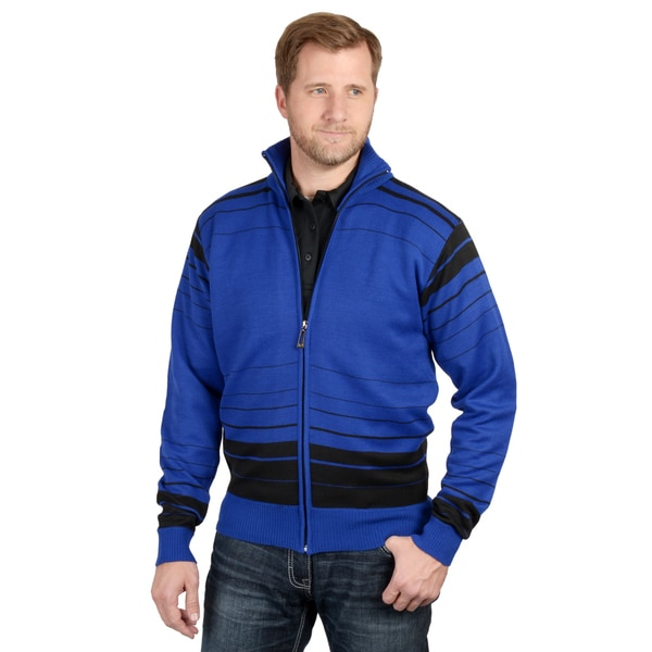 Vance Co. Men's Striped Zip-up Casual Sweater