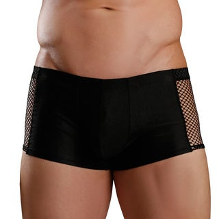 Fantasy Lingerie Excite for Men Black Boxer Briefs with Fishnet Side Detail