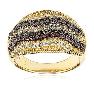 Suzy Levian Sterling Silver Chocolate Cubic Zirconia Gemstones Ring