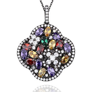 SUZY LEVIAN Fancy Cubic Zirconia Gemstone Cluster Lucky Clover Blackened Sterling Silver Pendant