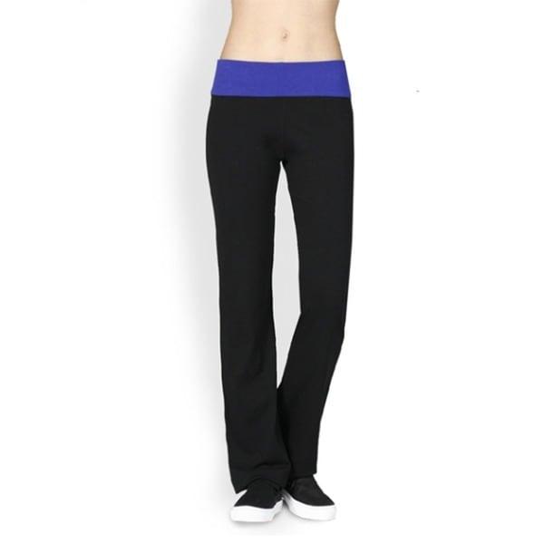 Tabeez Women's Foldover Contrast Yoga Pants
