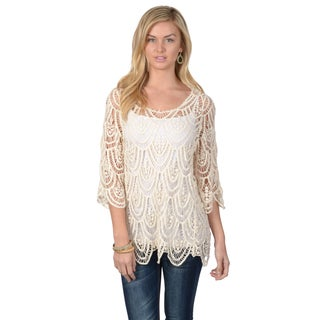 Hailey Jeans Co. Juniors Crocheted 3/4-sleeve Top