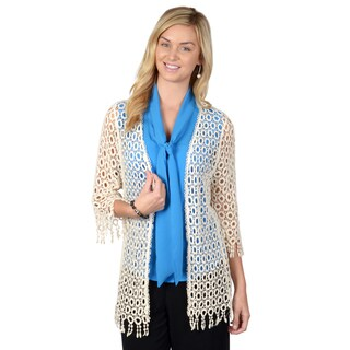 Journee Collection Women's Crochet Open-front Cardigan