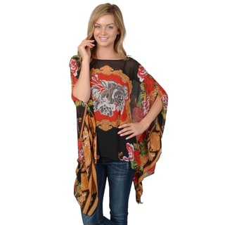 Journee Collection Women's Floral Print Batwing Chiffon Top