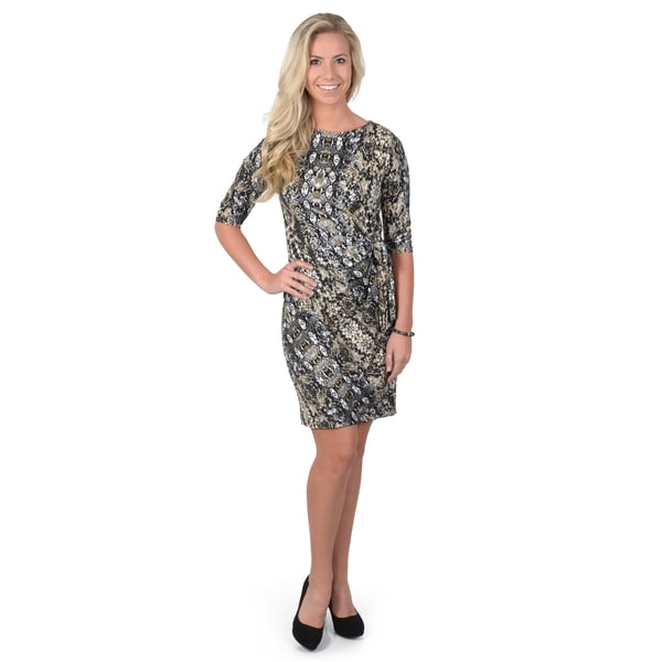 Journee Collection Women's Python Print Wrap Dress
