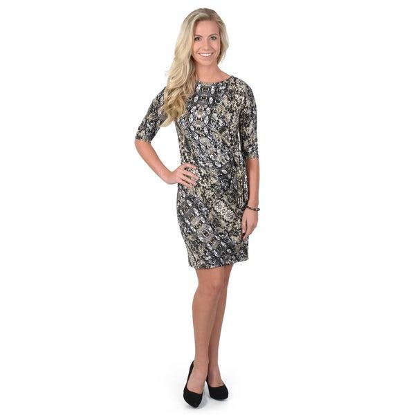 Journee Collection Women's Python Print Wrap Dress