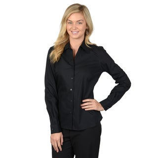 Journee Collection Women's Black Long Sleeve Button-up Shirt