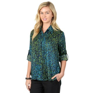 Journee Collection Women's Pleated Roll-tab Sleeve Blouse