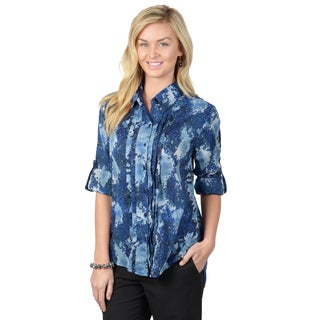Journee Collection Women's Blue Pleated Roll-tab Sleeve Blouse
