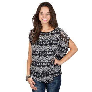 Hailey Jeans Co. Juniors Black Patterned Chiffon Top
