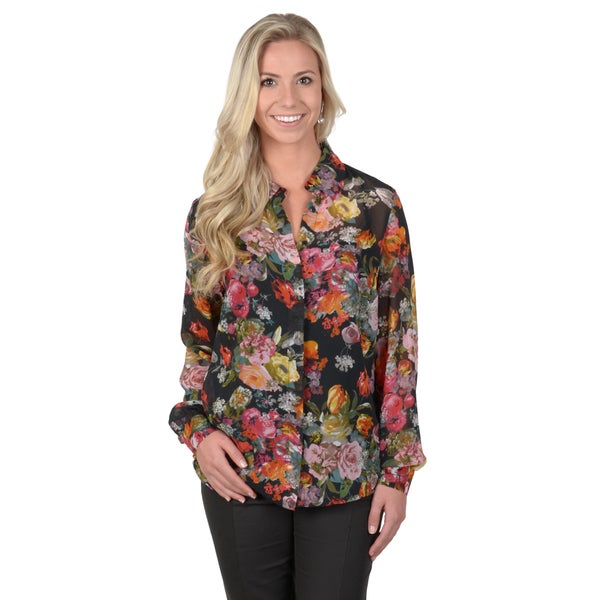 Journee Collection Women's Floral Print Button-up Blouse