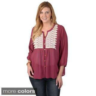 Timeless Comfort by Journee Women's Plus Button-up Crochet Detail Chiffon Top