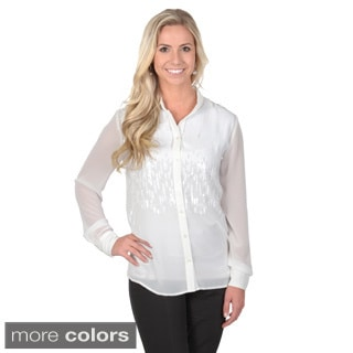 Journee Collection Women's Waterfall Sequin Button-up Blouse