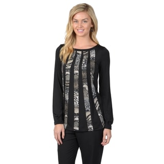 Journee Collection Women's Crew Neck Long Sleeve Python Print Striped Top