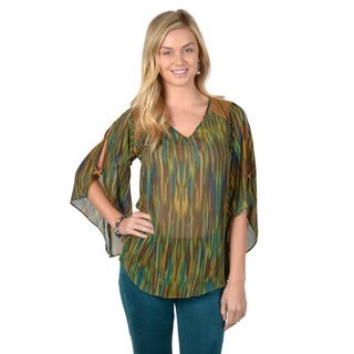 Journee Collection Women's Green Slit Sleeve Chiffon Blouse