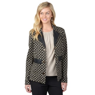 Journee Collection Women's Black Geometric Blazer