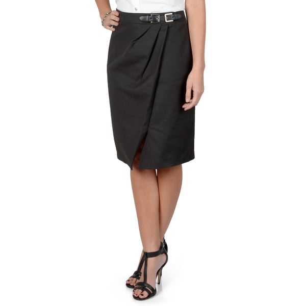 Journee Collection Women's Black Pleated Pencil Skirt